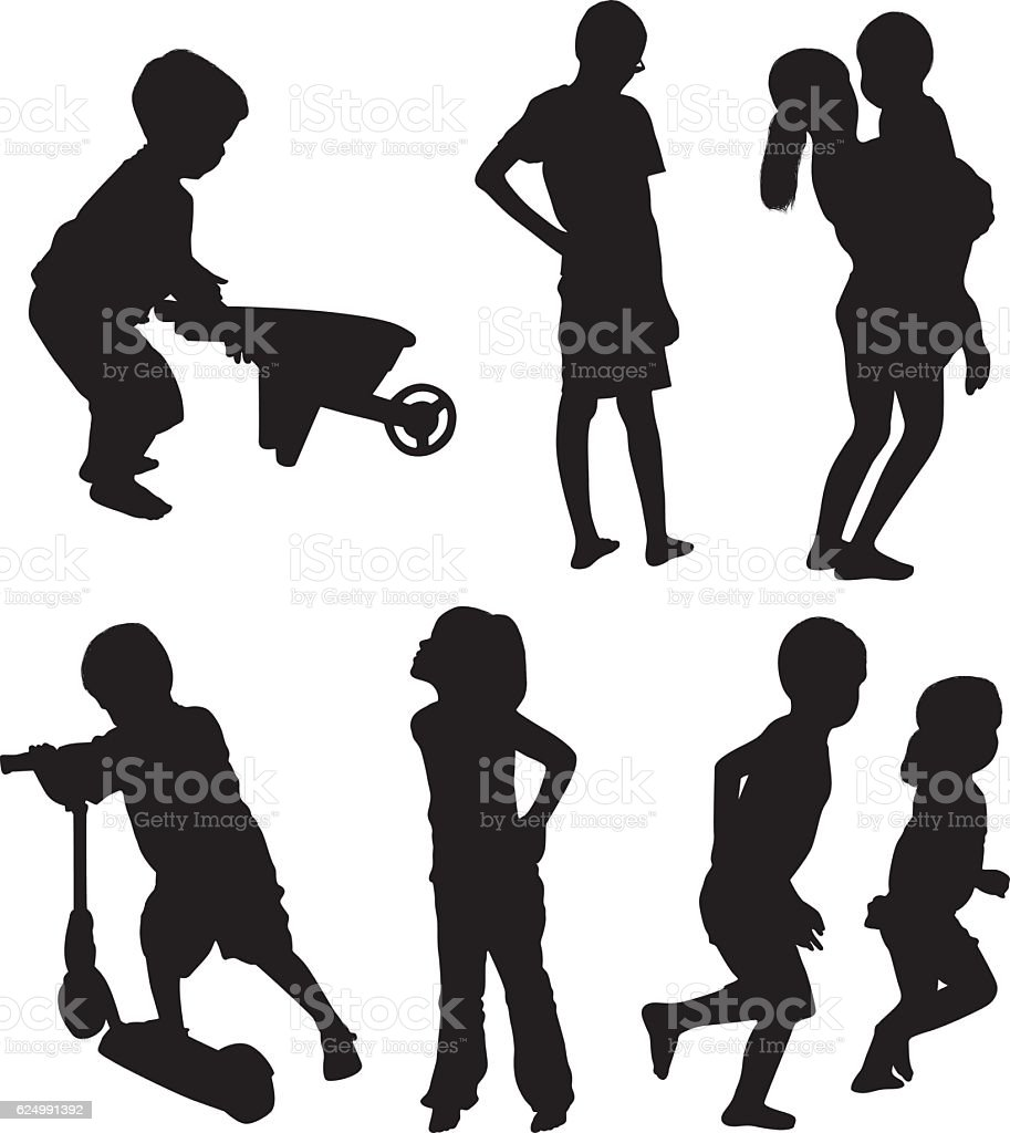 Little girls and boys in various actions vector art illustration