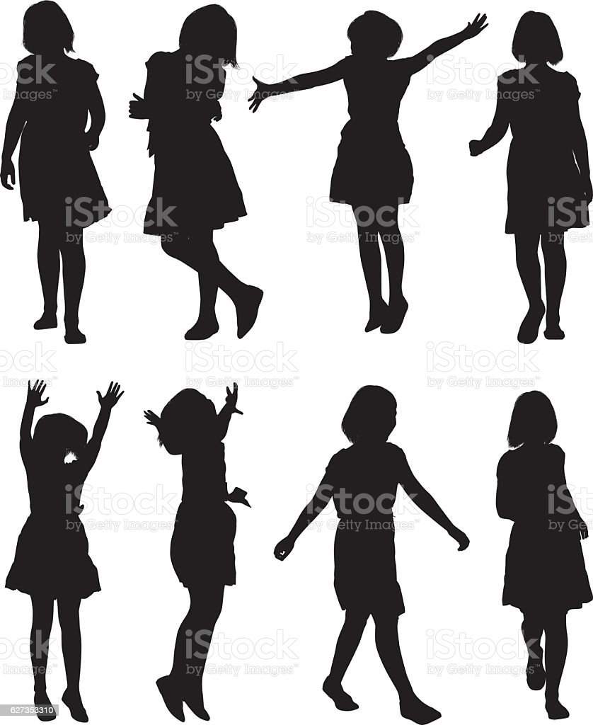 Little girls in various action vector art illustration