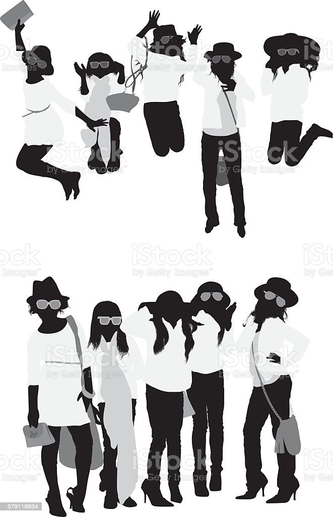 Little girls in various actions vector art illustration
