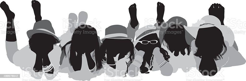 Little girls lying down vector art illustration