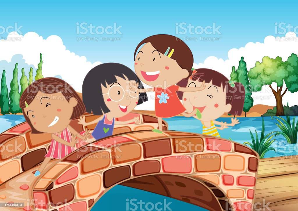Little girls playing at the bridge royalty-free stock vector art