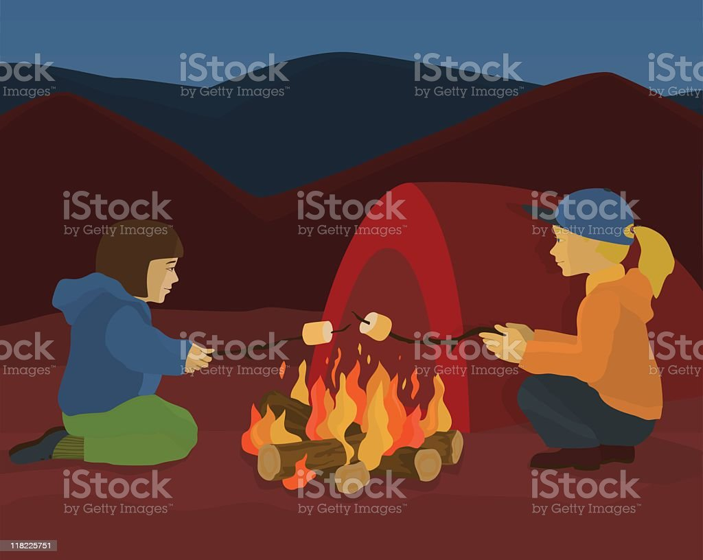 Little girls roasting marshmallows over a campfire vector art illustration