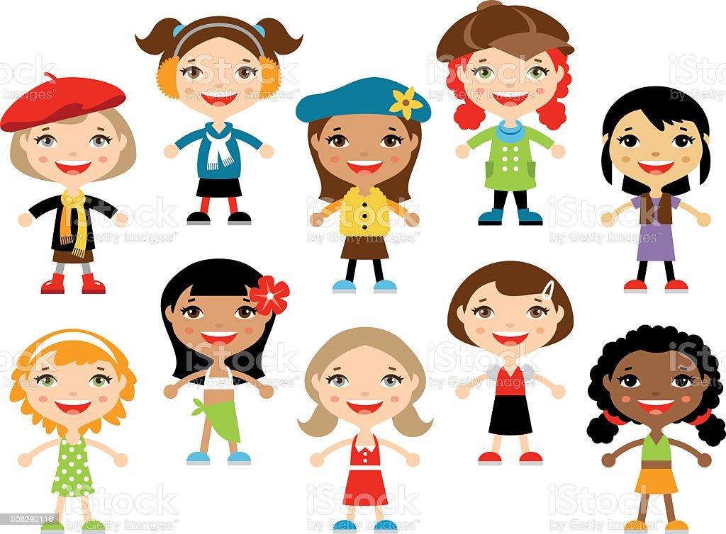 Little girls vector art illustration