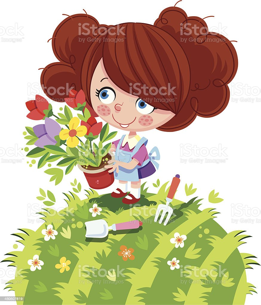 Little girls with flowers. royalty-free stock vector art