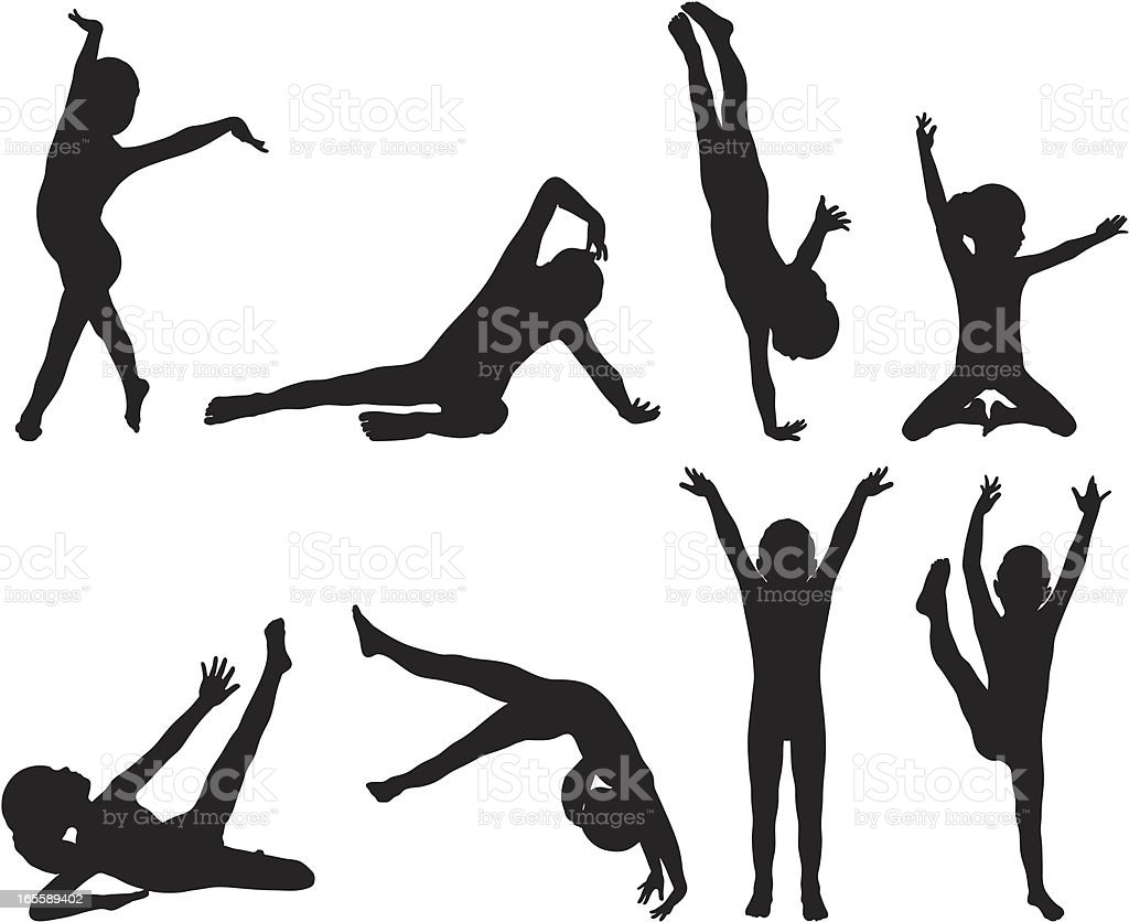 Little Gymnast Silhouettes vector art illustration