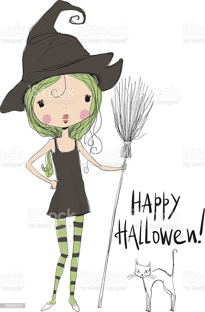 Little Halloween Witch and black cat. royalty-free stock vector art