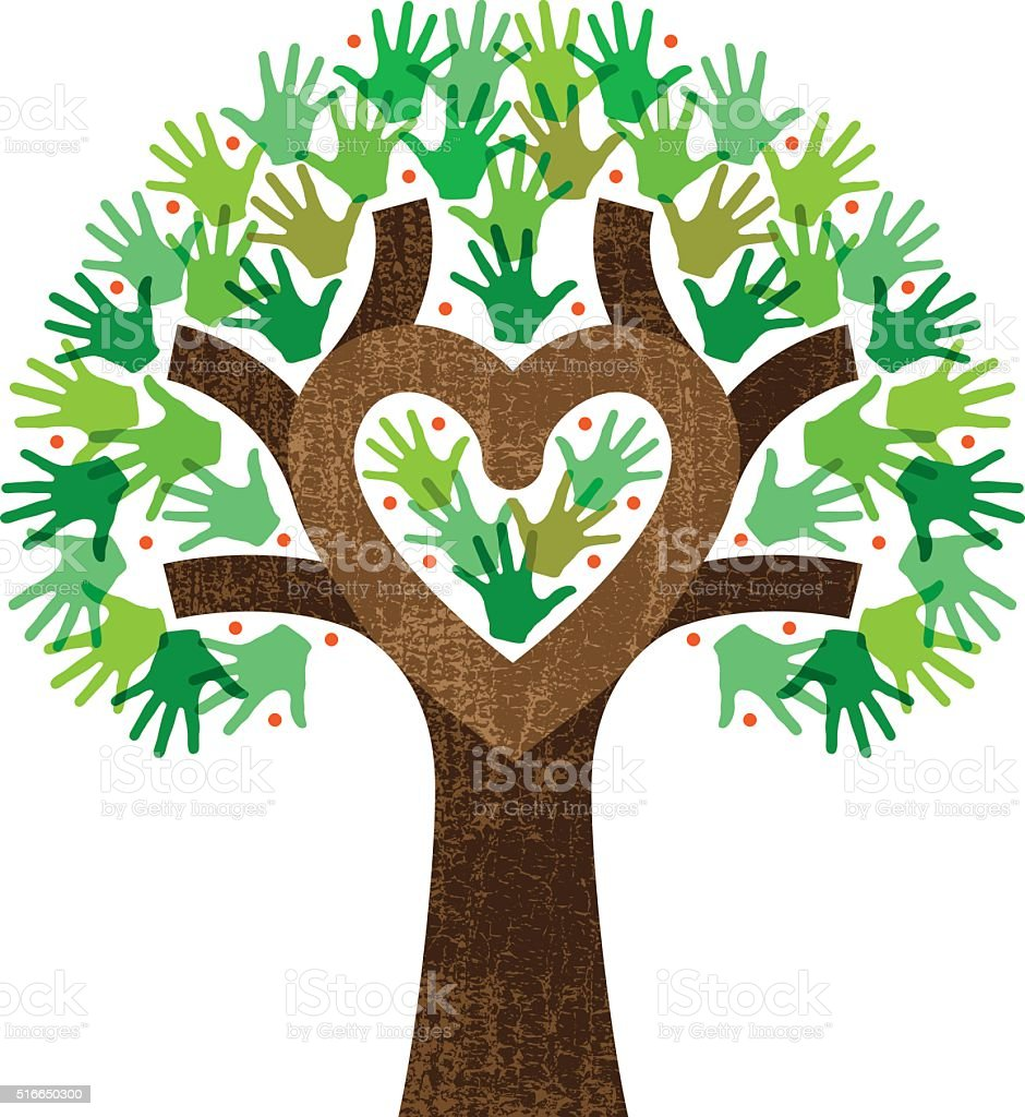 Little heart tree hands illustration vector art illustration