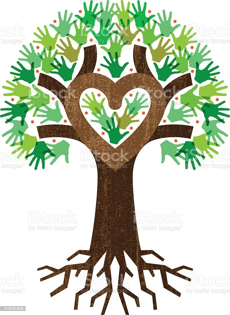 Little heart tree hands roots vector art illustration