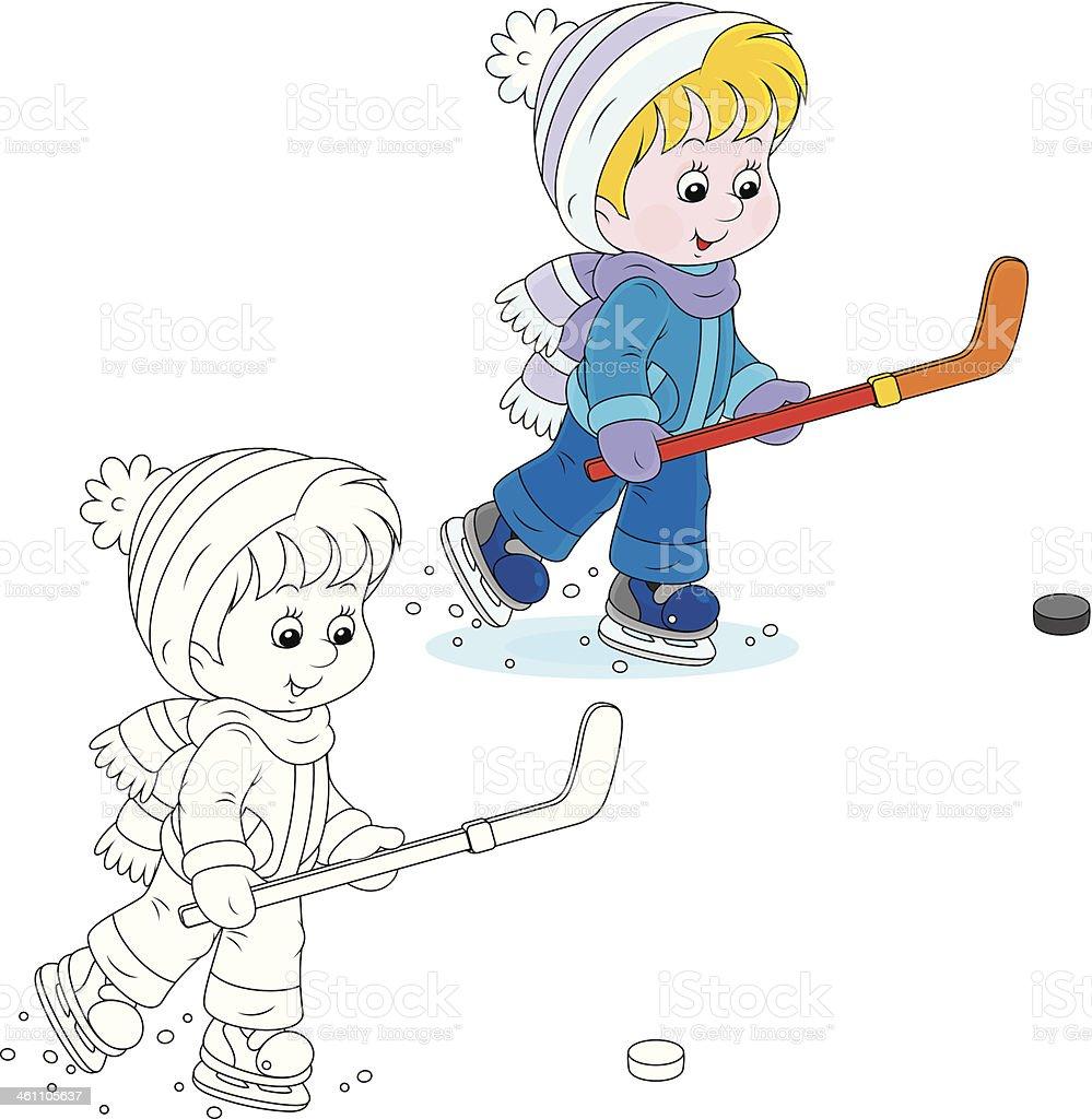 Little hockey player royalty-free stock vector art