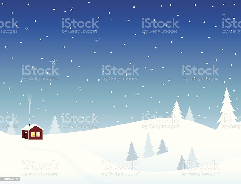 Little house in snowy hills vector art illustration