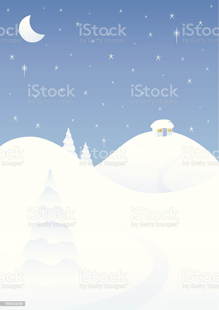 Little House in the Snow - incl. jpeg royalty-free stock vector art