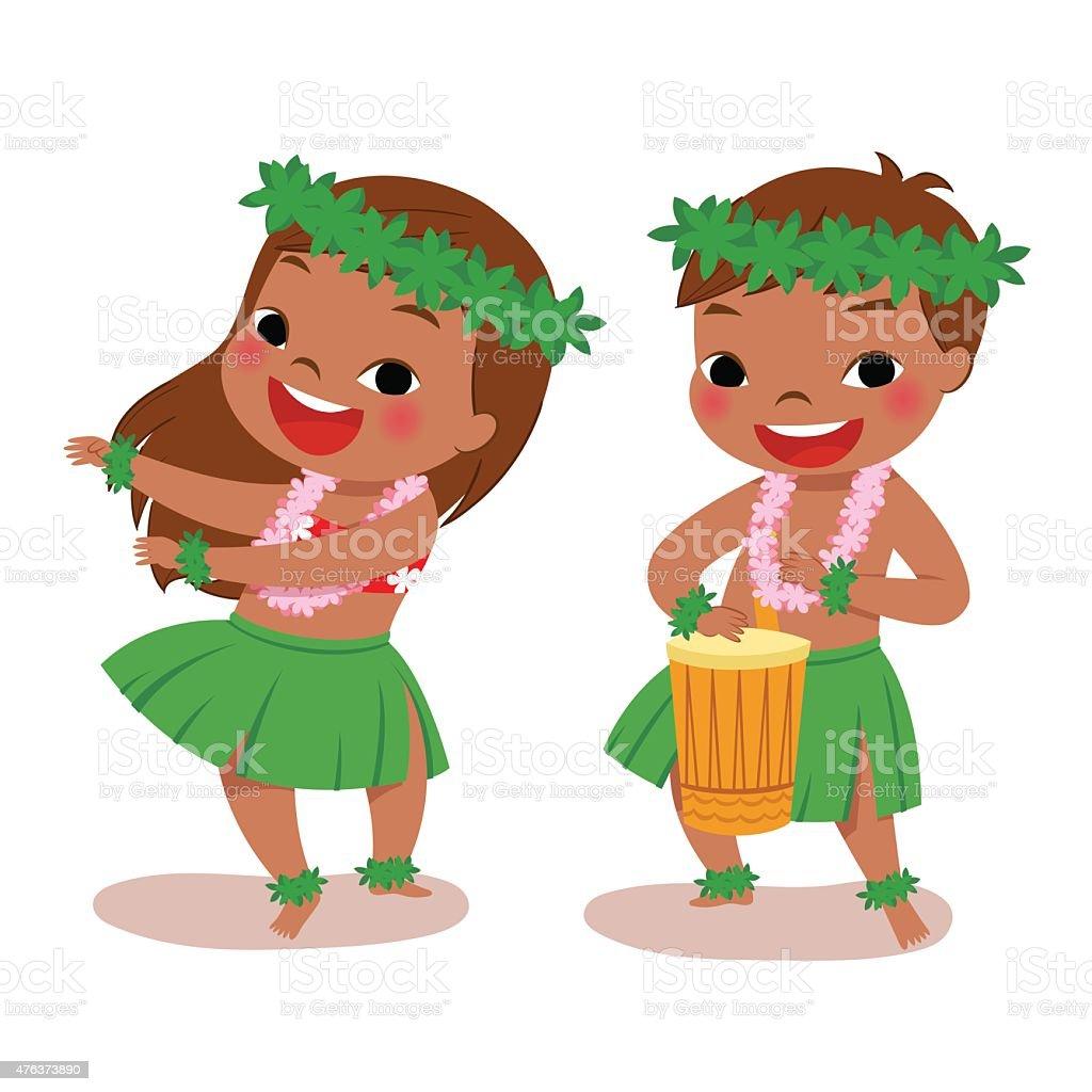 little hula dancers vector art illustration
