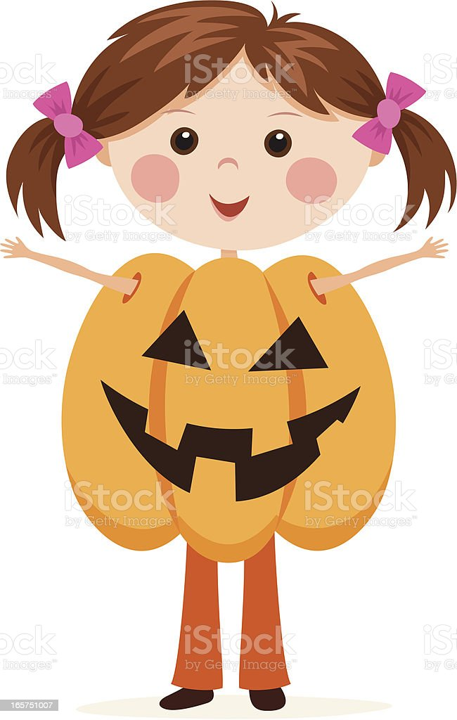 Little Jack o lantern Halloween girl royalty-free stock vector art