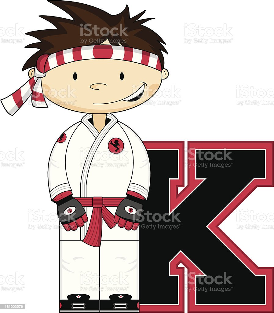 Little Karate Boy Learning Letter K royalty-free stock vector art