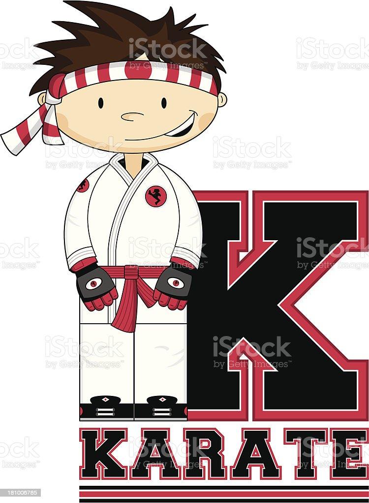 Little Karate Boy Learning Letter K royalty-free stock vector art