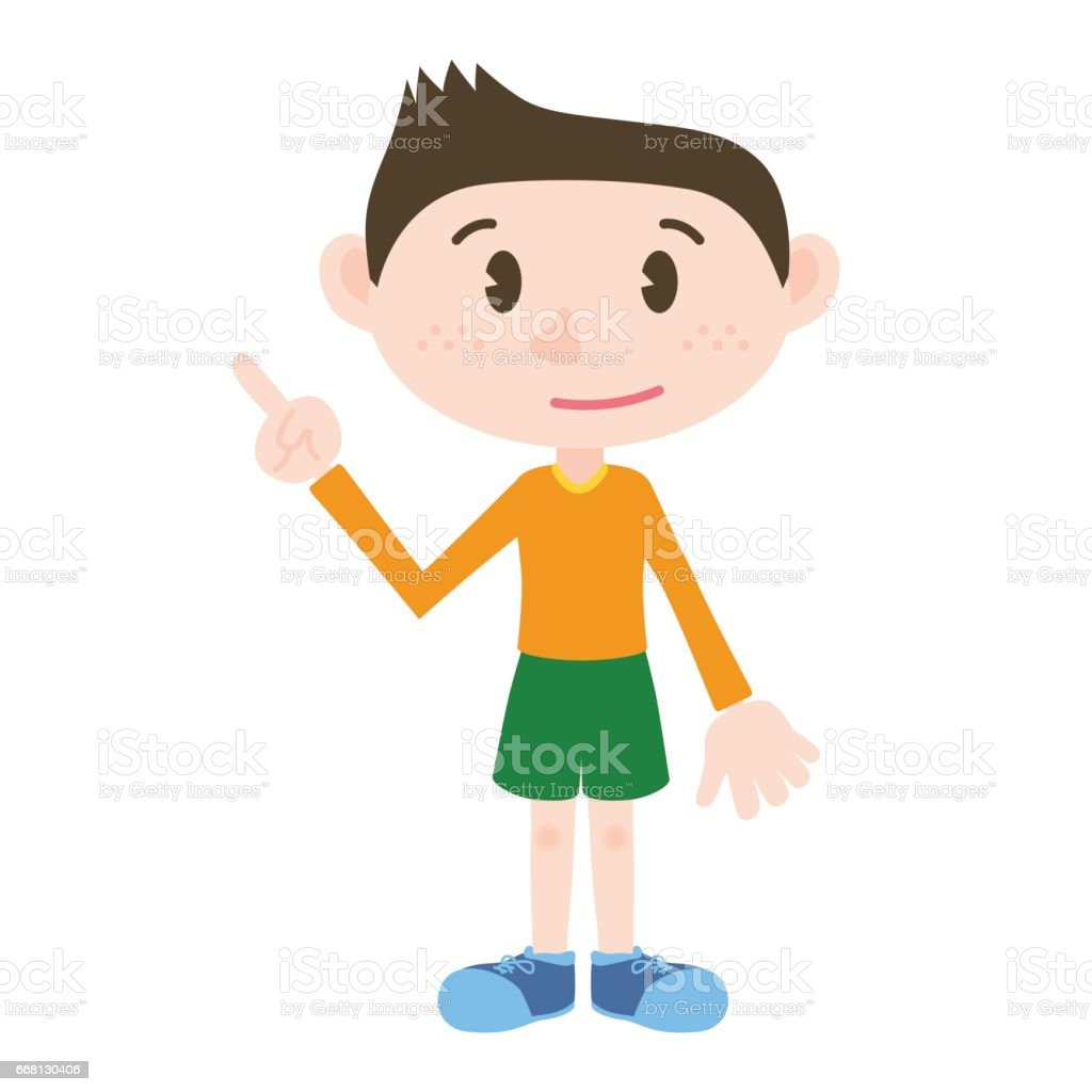 little kid cartoon character pointing hand sign clip art stock