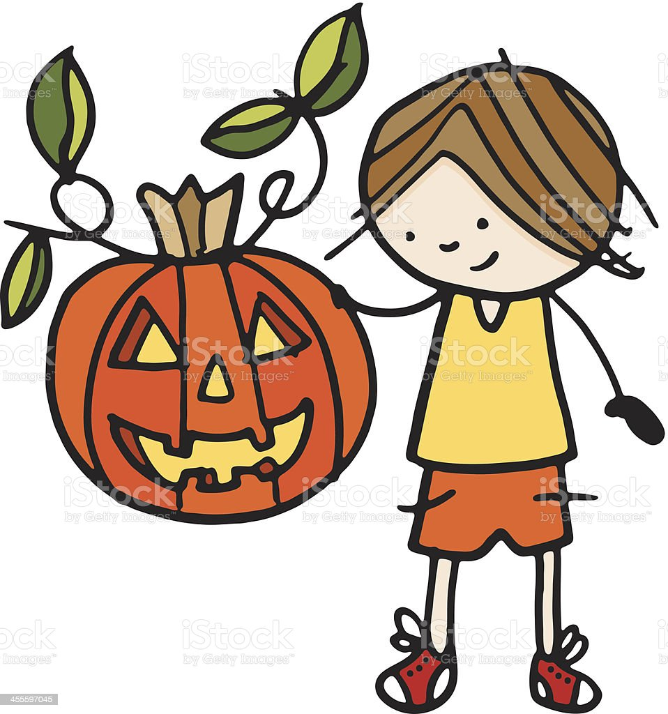 Little kid holding a large pumpkin royalty-free stock vector art