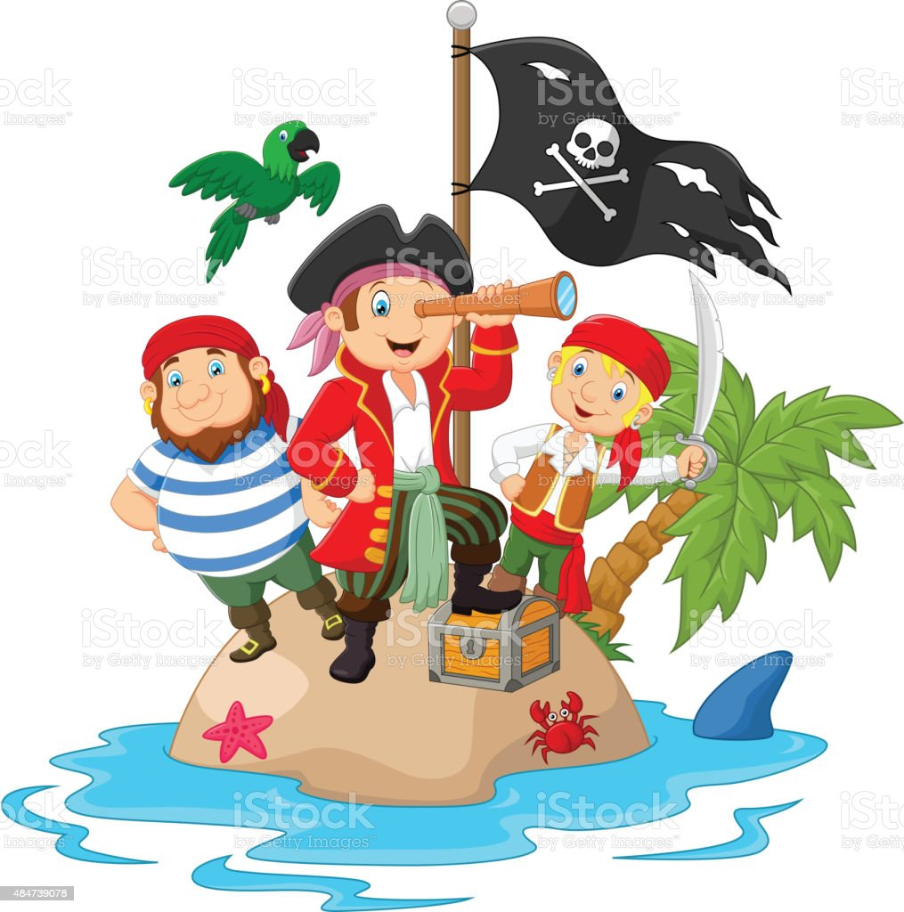Little kids trapped in areas of the island treasure vector art illustration
