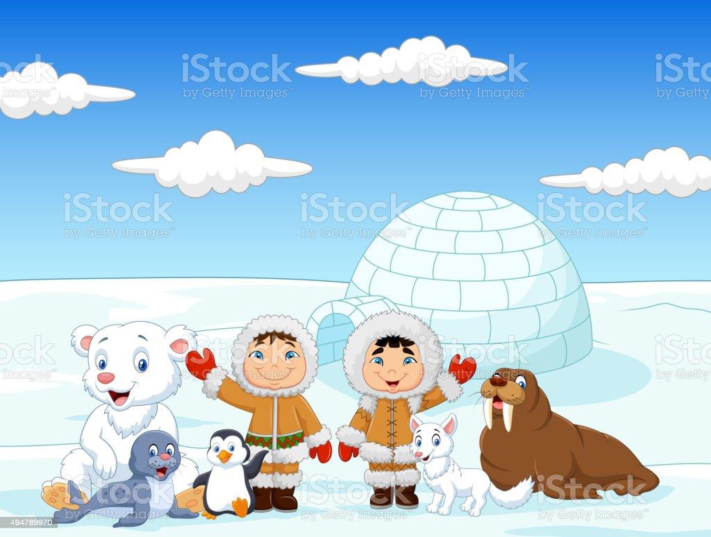 Little kids wearing traditional eskimo costume with arctic animals vector art illustration