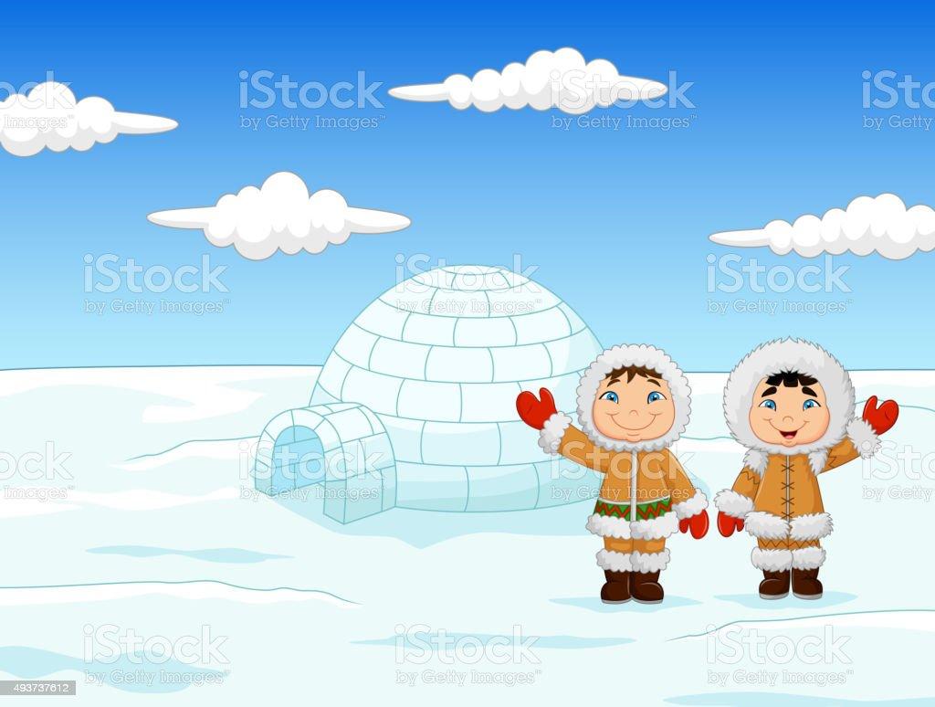 Little kids wearing traditional Eskimo costume with igloo house vector art illustration