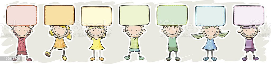 Little kids with messages in rainbow color tone royalty-free stock vector art