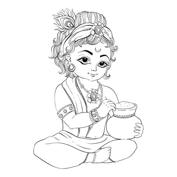 Line Art Krishna : Krishna clip art vector images illustrations istock