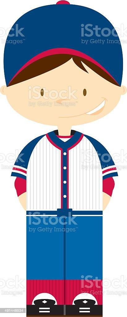 Little League Baseball Boy vector art illustration