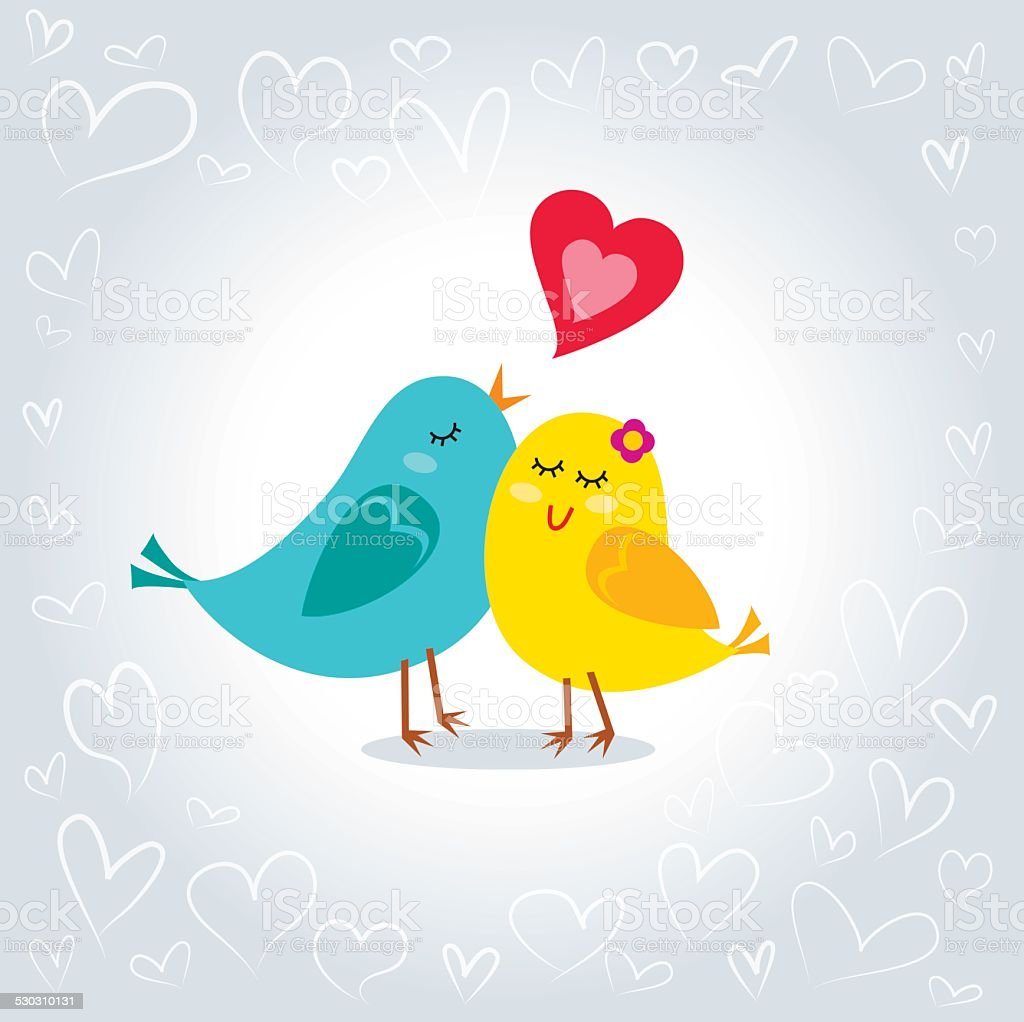 Little love birds vector art illustration