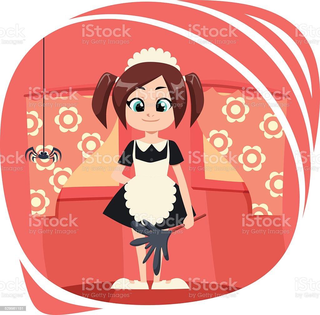 Little Maid vector art illustration