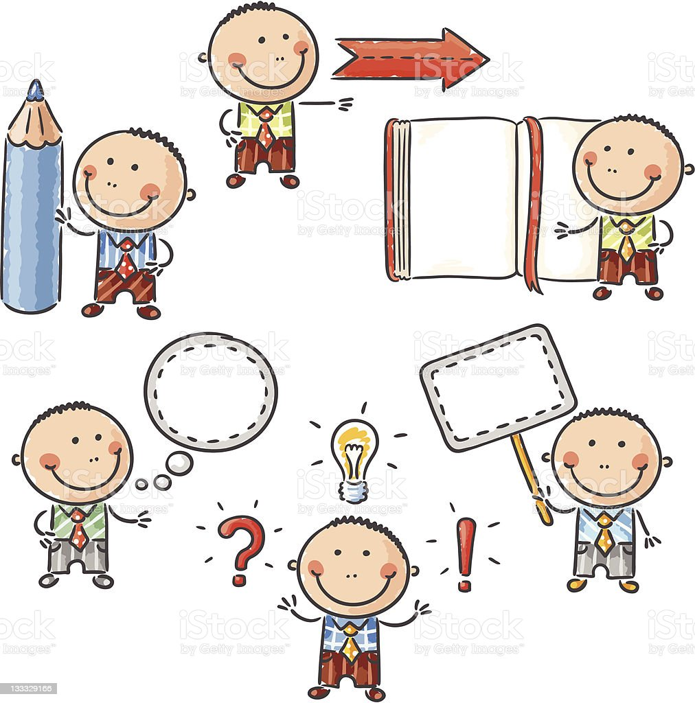 Little man character (signs and notes) royalty-free stock vector art