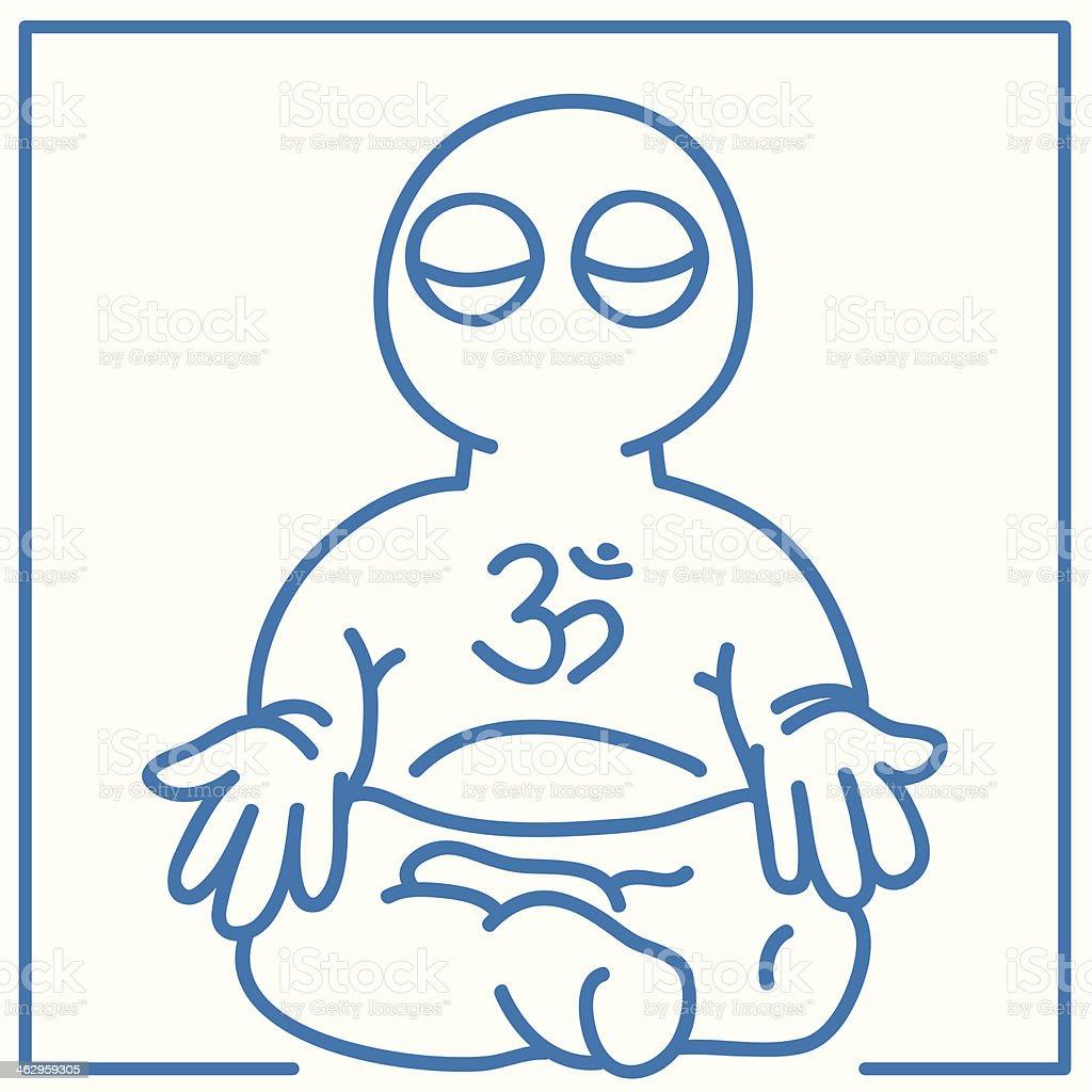 little man in meditation royalty-free stock vector art