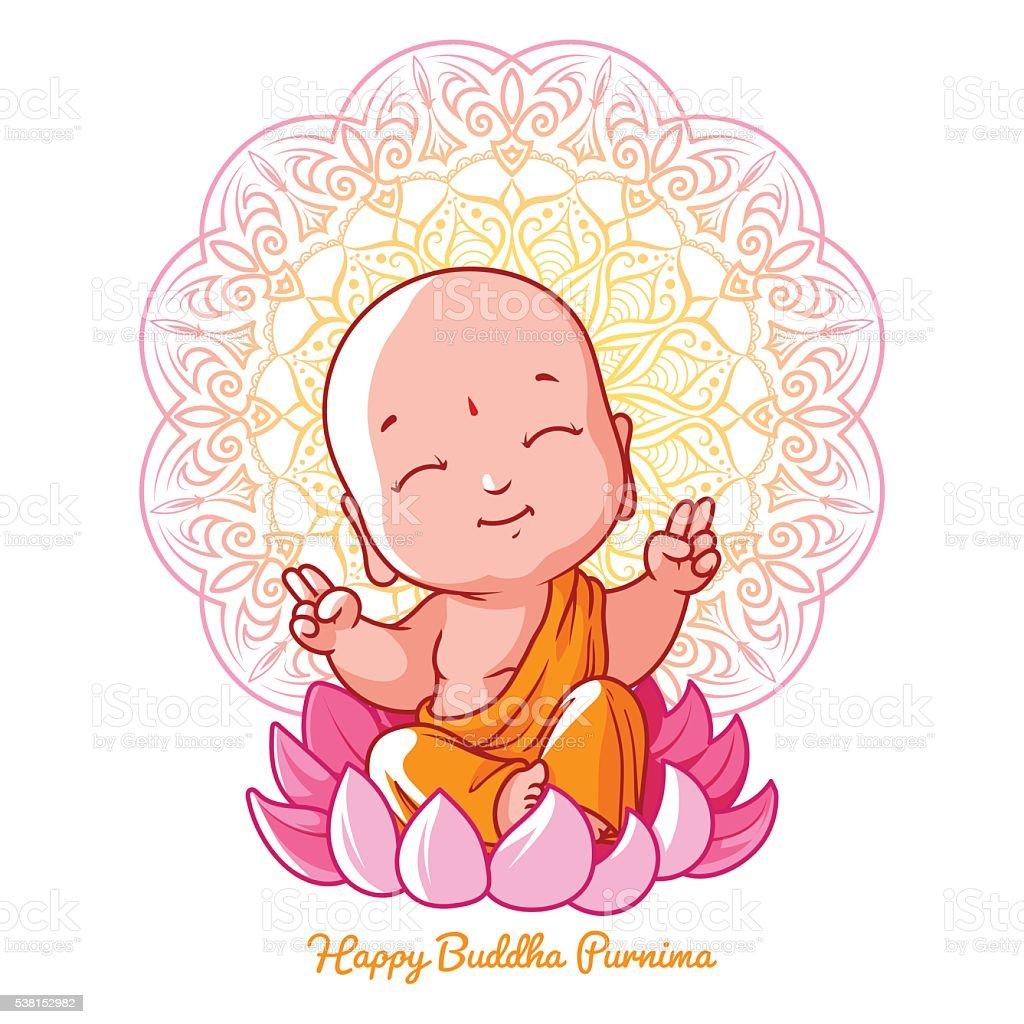 Little meditating Buddha on the lotus. vector art illustration