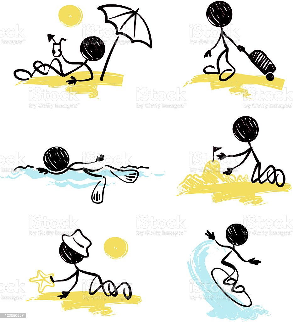 Little men - on the beach royalty-free stock vector art