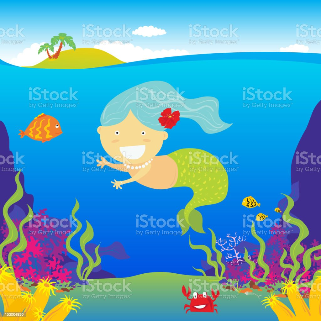 Little mermaid vector art illustration