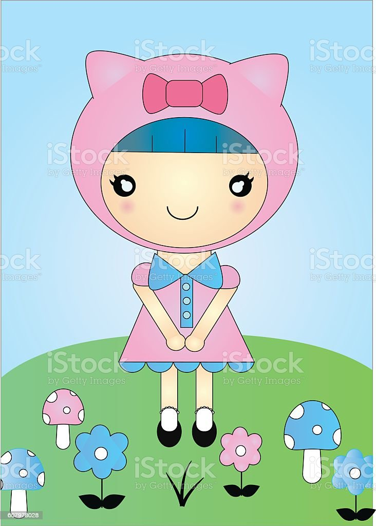 Little Miss Kitty vector art illustration