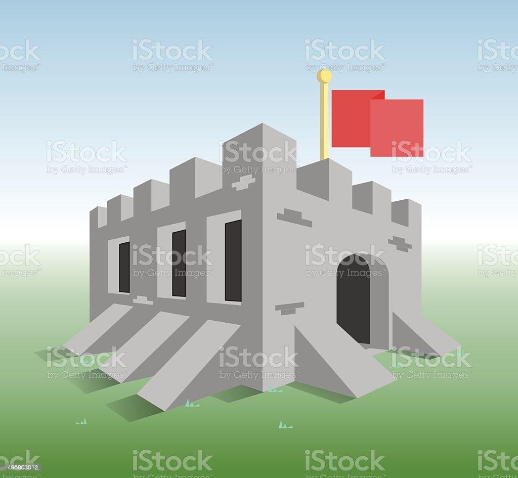Little old fortress vector art illustration