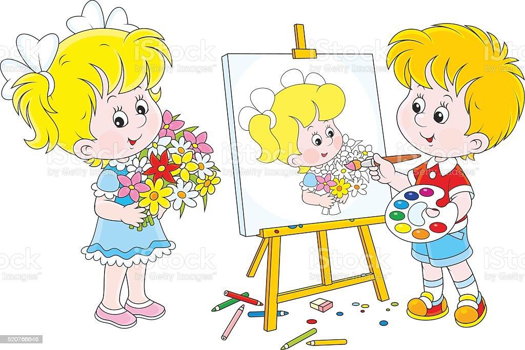 Little painter vector art illustration
