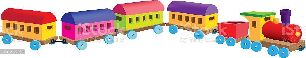Little passenger train vector art illustration