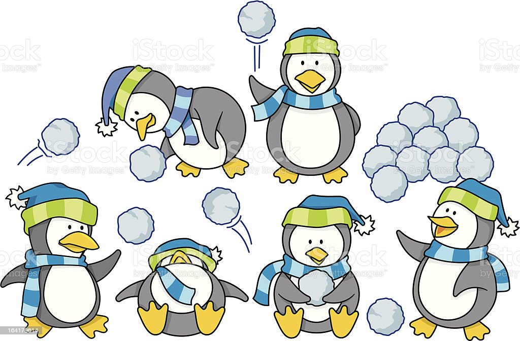 Little penguins with snow vector art illustration