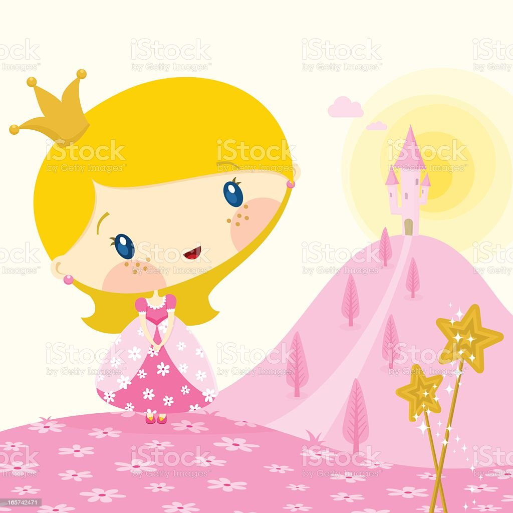 Little Pink Princess vector art illustration