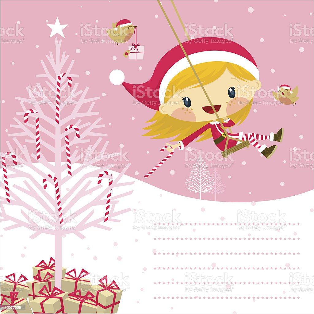 Little pink santa claus girl vector art illustration