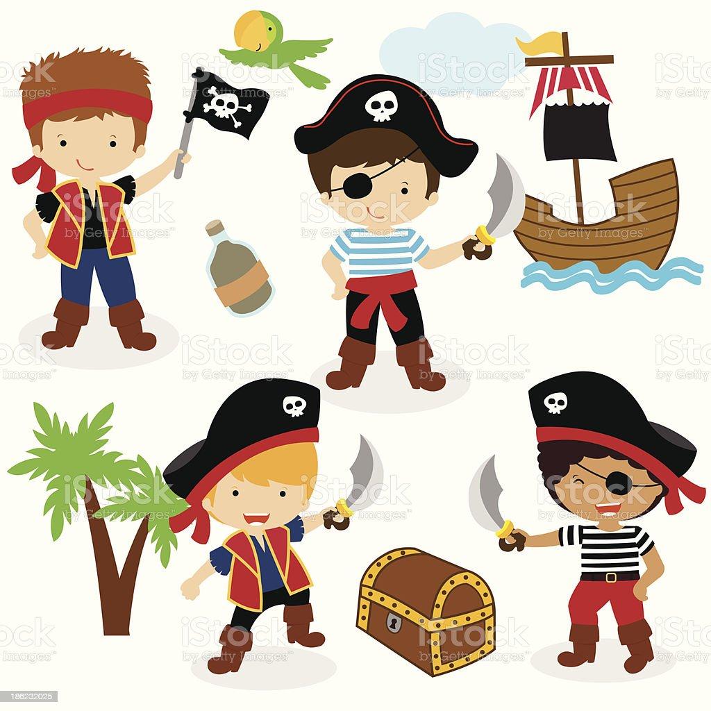 Little Pirate Boys vector art illustration