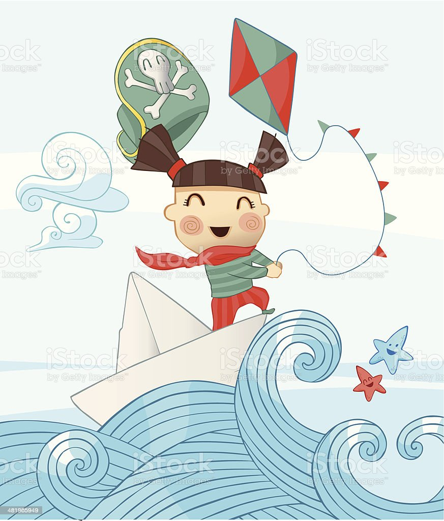 Little Pirate Girl Scene with a Kite royalty-free stock vector art