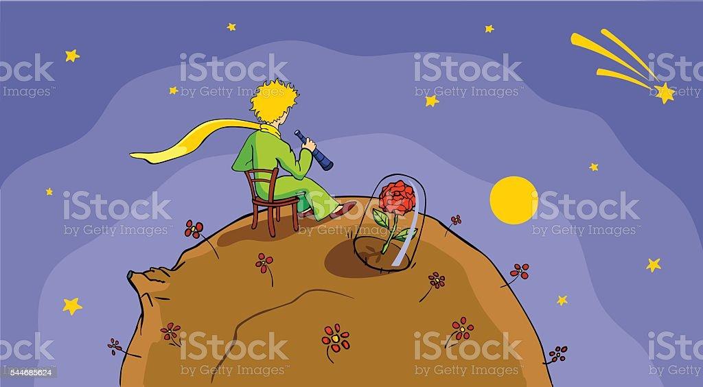 Little Prince and stars vector art illustration