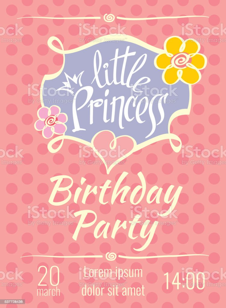 Little Princess birthday party vector poster or invitation card template vector art illustration