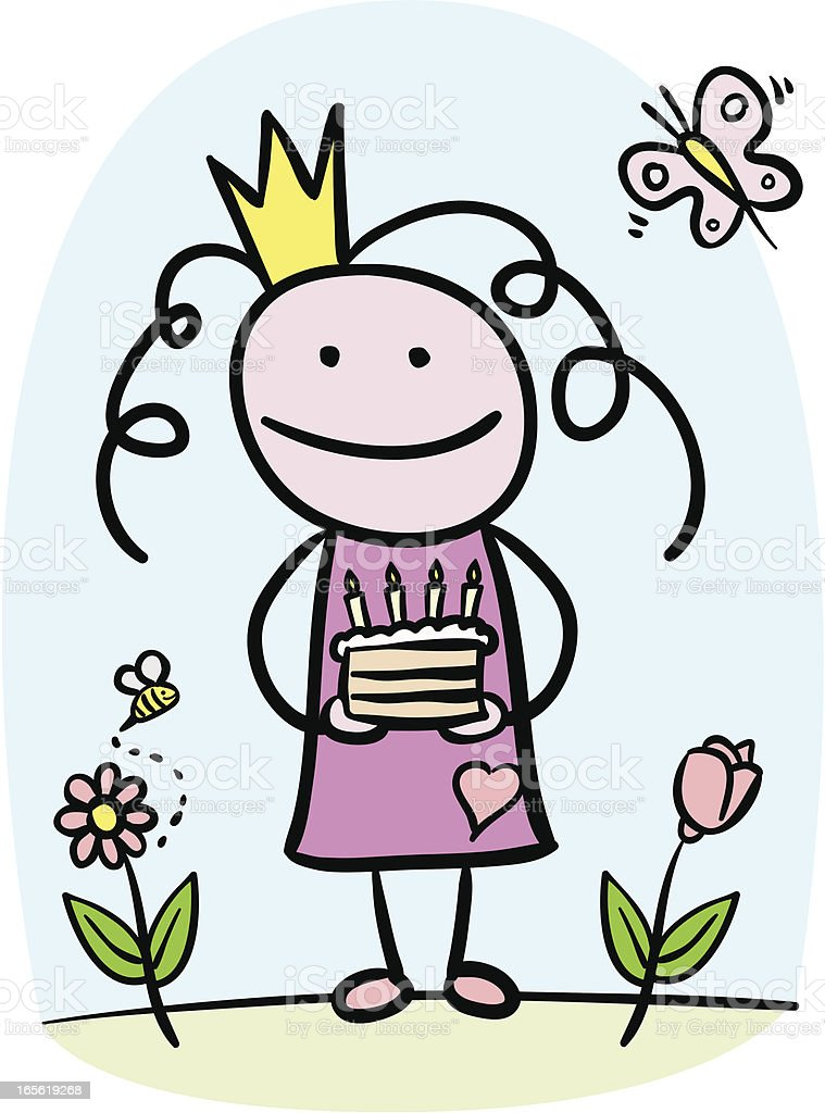 Little princess birthday vector art illustration