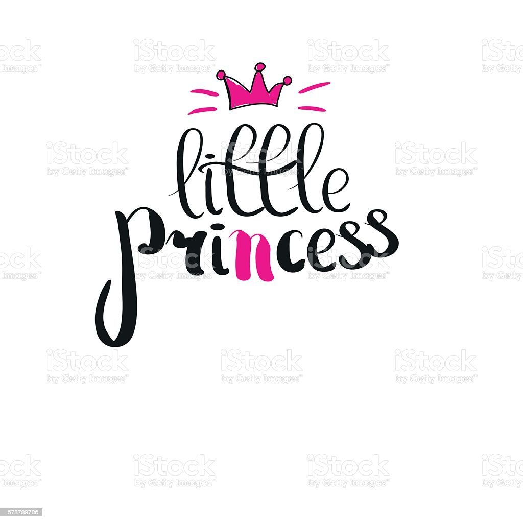 Little princess lettering for girl tshirt design crown Girl t shirts design