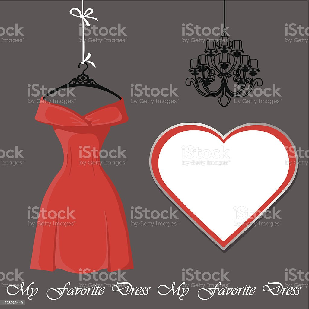 Little red dress with label and chandelier vector art illustration