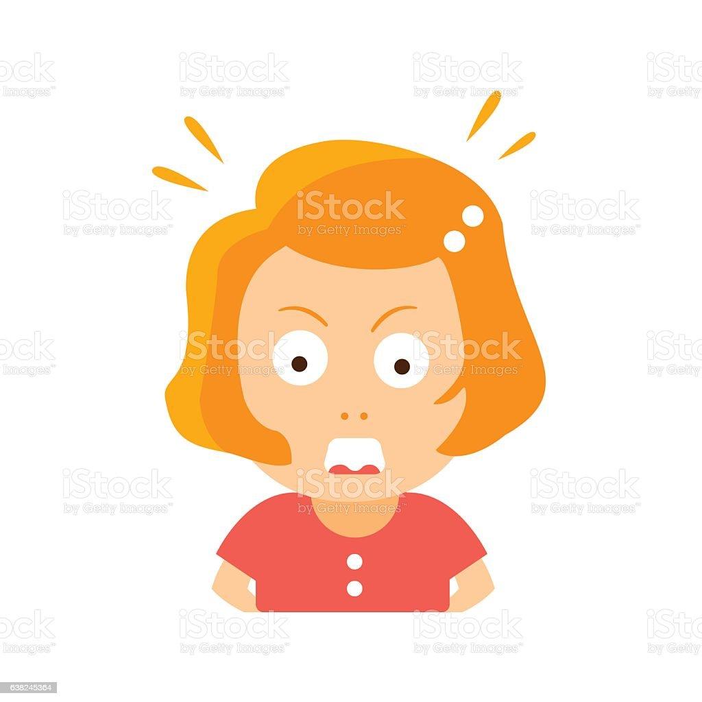 Little Red Head Girl In Red Dress Enraged Flat Cartoon vector art illustration