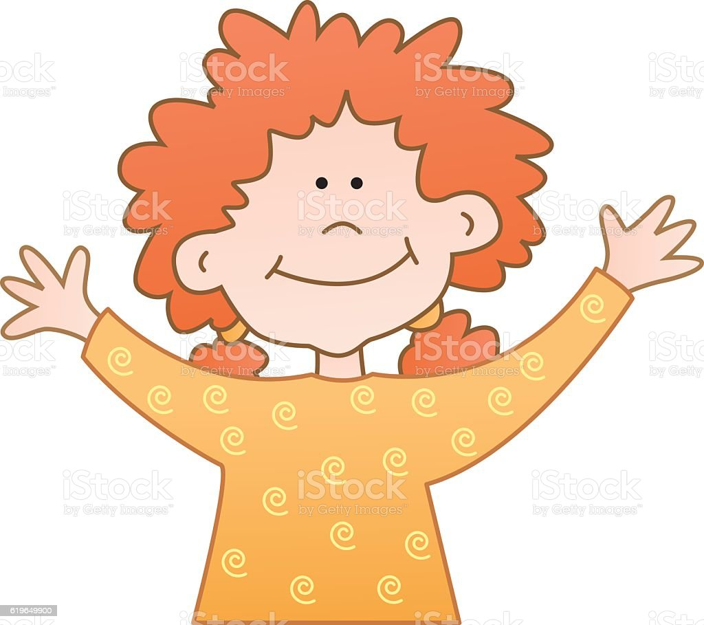 Little Red Head Girl With Raised Arms vector art illustration